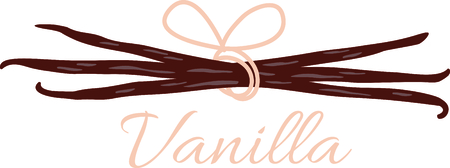 Vanilla bean pods tied together with a pink bow.