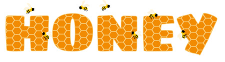 buzzing: Honeycomb wording surrounded by buzzing bees.