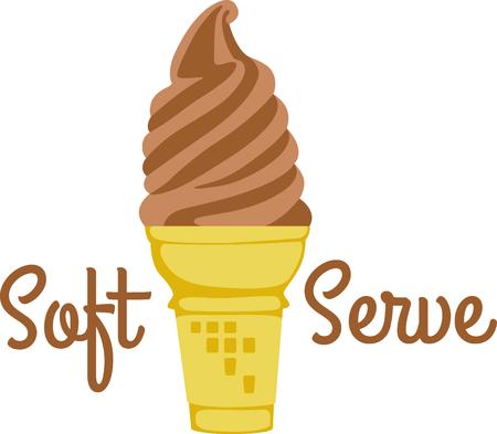 Cone of chocolate soft-served ice cream. Ilustração