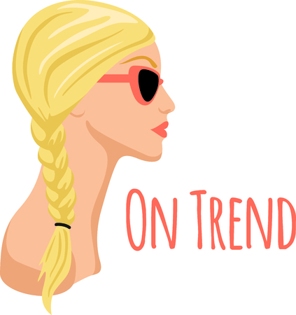 braid: Side Braid blonde in profile is perfect for hairsylists. Illustration