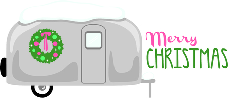 RV enthusiasts will like this snow-covered travel trailer with a Christmas wreath.