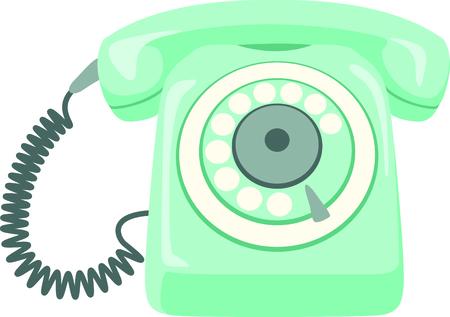 Retro roterende telefoon om te gebruiken voor thuis of op kantoor projecten. Stock Illustratie