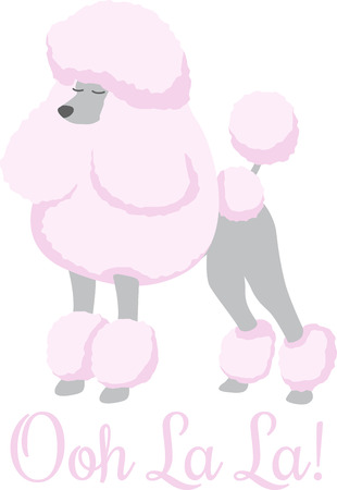 A pink poodle is a great dog for an animal lover. 向量圖像