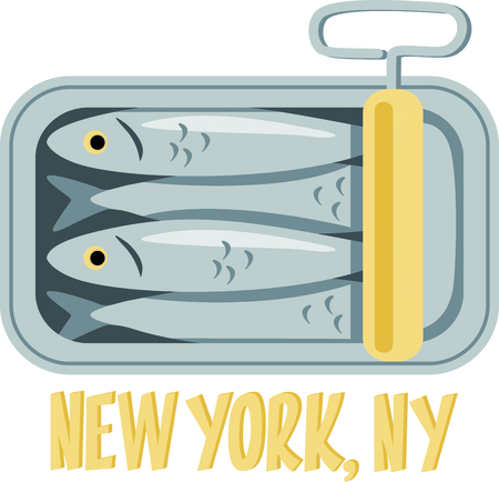 adds: A tin of packed sardines in oil create a fun design to stitch on kitchen related projects.  The old fashion twist key adds an interesting flare. Illustration