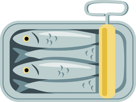 tin: A tin of packed sardines in oil create a fun design to stitch on kitchen related projects.  The old fashion twist key adds an interesting flare. Illustration