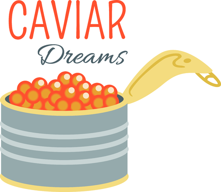 A yummy can of caviar creates a delicious design to stitch on party napkins of kitchen projects. Ilustrace