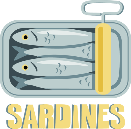 sardines: A tin of packed sardines in oil create a fun design to stitch on kitchen related projects.  The old fashion twist key adds an interesting flare. Illustration