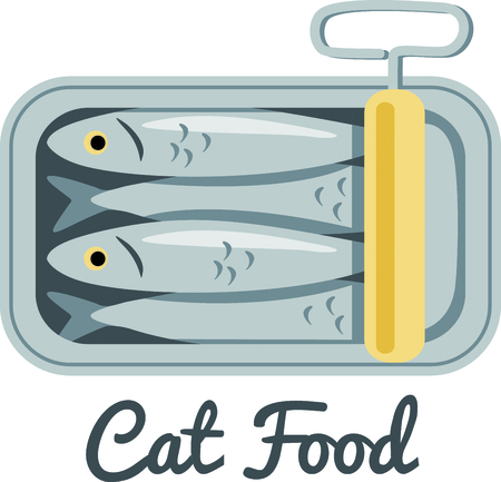oily: A tin of packed sardines in oil create a fun design to stitch on kitchen related projects.  The old fashion twist key adds an interesting flare. Illustration