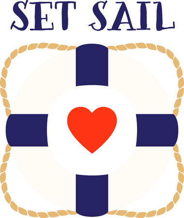 flotation: Love boat life preserver is perfect or maritime or Valentine decor.