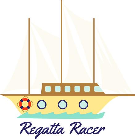Met deze houten clipper schip voor al uw zeilen projecten. Stock Illustratie