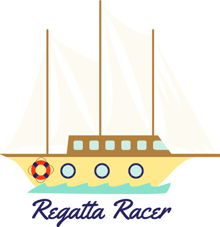 regatta: Use this wooden clipper ship for all your sailing projects. Illustration