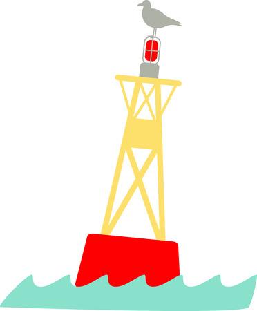 Gebruik deze meeuw zat op een golvende bouy voor al uw nautische projecten.