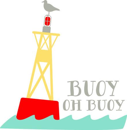 Verwenden Sie diese Möwe auf einem welligen bouy für alle nautischen Projekte thront. Standard-Bild - 43867999