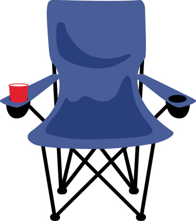 Take a folding chair with you on your next camping trip. 向量圖像