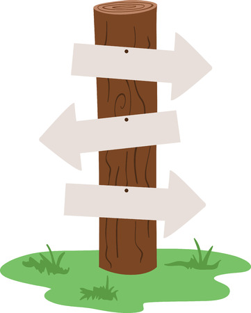 wooden post: Direction arrows can point the right way.