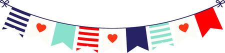 Zeigen Sie Ihre Liebe mit diesem nautischthemenorientiertes Banner mit Herzen. Standard-Bild - 43868018