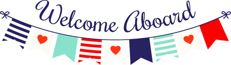 Show your love with this nautical themed banner with hearts.