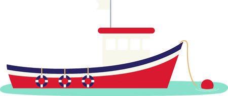 Red, white and blue fishing boat moored and ready for your project. Stock Illustratie