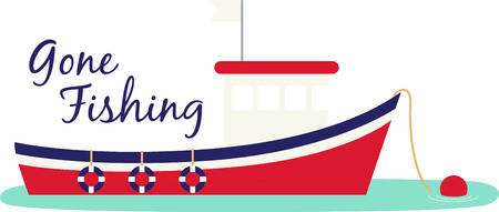 Red, white and blue fishing boat moored and ready for your project. Vettoriali