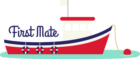 deep sea fishing: Red, white and blue fishing boat moored and ready for your project. Illustration
