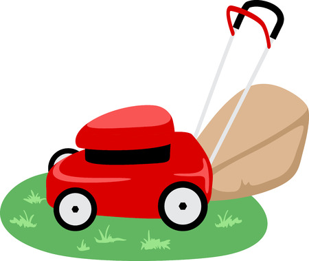 Little red lawn mower sitting on the grass and ready to go. Ilustrace