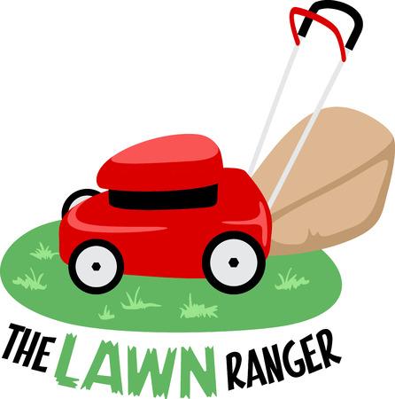 Kleine rode grasmaaier op het gras zitten en klaar om te gaan.
