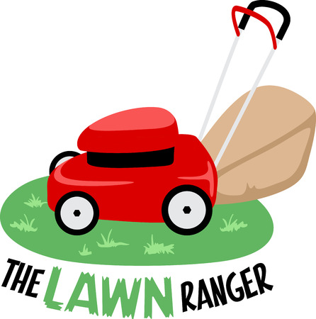 garden maintenance: Little red lawn mower sitting on the grass and ready to go. Illustration
