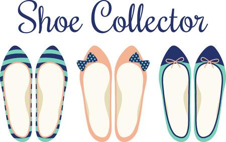 Flats, shoe, lady, ladies, leather, footwear, clothing, bow, stripe Illustration