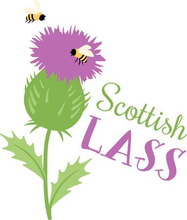 紫のアザミ蜂を楽しく賑やかに囲まれています。  イラスト・ベクター素材