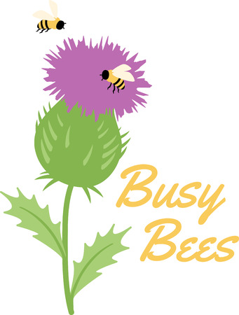 Purple thistle surrounded by happily buzzing bees.