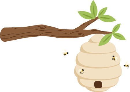 tree branch: Picturesque beehive hanging from a tree branch.