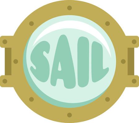 Shining ships porthole for sailing and seafairing enthusiasts. Иллюстрация