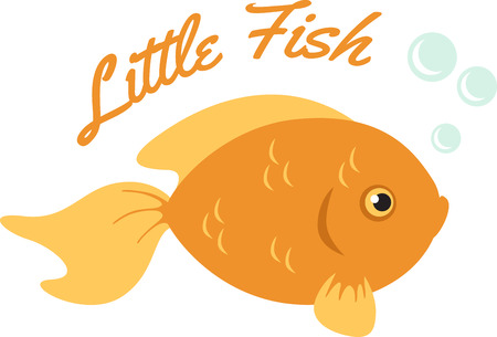 gold fish: Cute little bubble blowing gold fish. Illustration