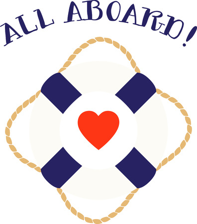 Love boat life preserver is perfect or maritime or Valentine decor.