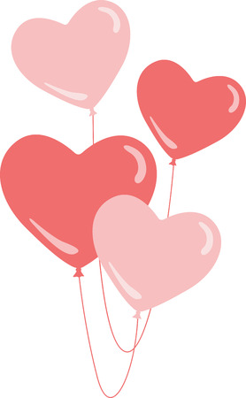 holiday celebrations: Use these balloons to decorate for a special valentine. Illustration
