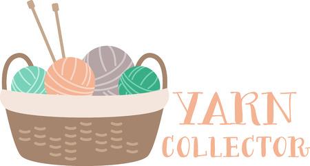 A cute basket full of yarn balls ready to knit.