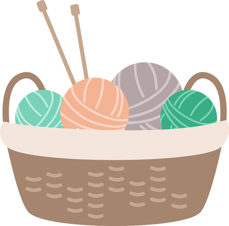 knit: A cute basket full of yarn balls ready to knit.