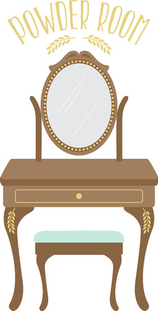A lady's vanity is a great furniture accent for a powder room design. Illustration