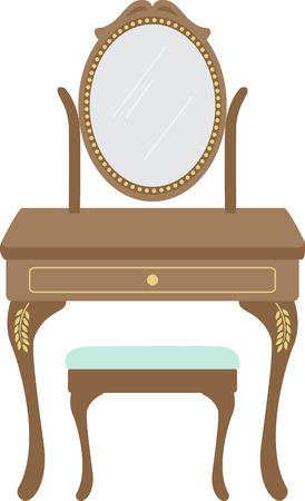 女性の虚栄心は、パウダー ルームのデザインの素晴らしい家具のアクセントです。  イラスト・ベクター素材