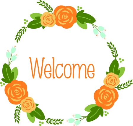 greet: Greet others with this pleasant floral wreath design.