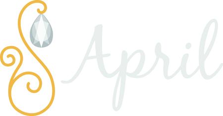 4월: Celebrate your April birthday with your birthstone, the diamond. 일러스트
