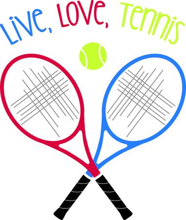 테니스 게임을 좋아하는 특별한 테니스 선수를 생각 나게하십시오. 테니스를 함께하는 것을 좋아하는 커플에게 딱! 스톡 콘텐츠 - 43868245