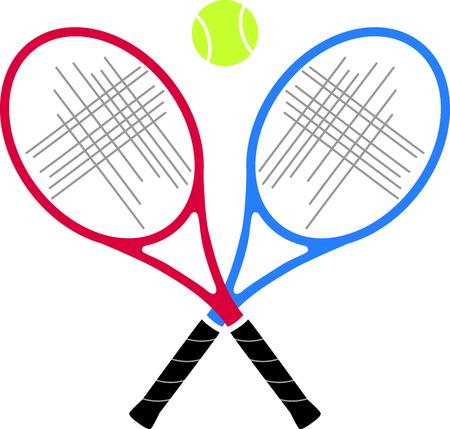 테니스 게임을 좋아하는 특별한 테니스 선수를 생각 나게하십시오. 테니스를 함께하는 것을 좋아하는 커플에게 딱! 스톡 콘텐츠 - 43868246