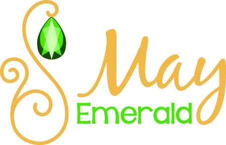 Celebrate your May birthday with your birthstone, the emerald. Illustration