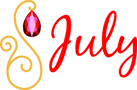 Celebrate your July birthday with your birthstone, the ruby. Ilustrace