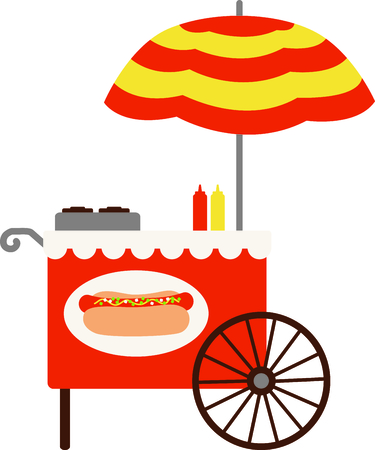 stir up: The hot dog cart in the park cant help but stir up fond memories.  Our super sweet cart is a great way to decorate a picnic cooler or even a table cloth for your outdoor table!