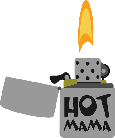 cigarette lighter: This beautifully detailed embroidery design shows a silver cigarette lighter with a large flame.