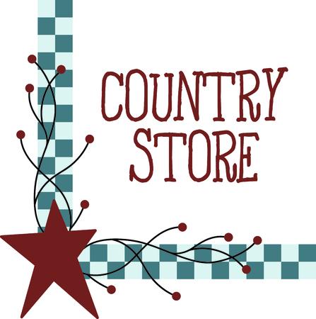 Landelijke stijl geruite hoek met rode ster. Gebruiken voor uw land decoreren.
