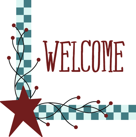 country style: Country style checkered corner with red star. Use for your country decorating. Illustration