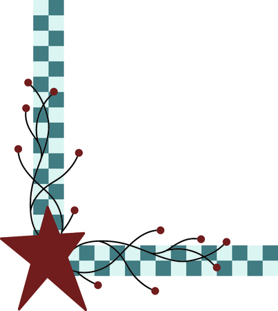 Country style checkered corner with red star. Use for your country decorating. 向量圖像